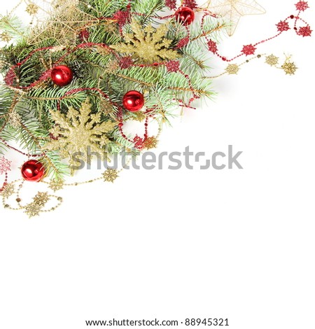 Christmas Decorations Border with Snowflakes over White