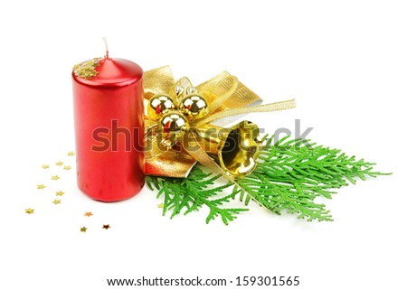 Christmas decorations,  candle and fir - stock photo