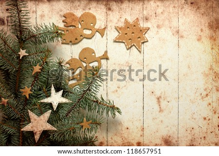 Christmas decorations.Christmas angels with the stars and christmas tree/Vintage christmas background/christmas card with paper decorations - stock photo