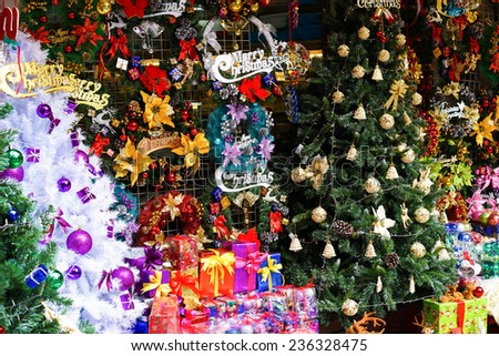 Christmas decorations displayed for selling in an Asia store - stock photo