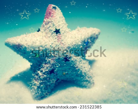 Christmas decorations for Christmas background in vintage color style - stock photo