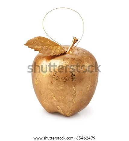 Christmas decorations, golden apple isolated on a white background. - stock photo