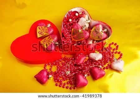 Christmas decorations hearts - stock photo