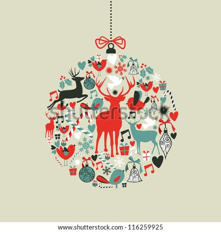 Christmas decorations icons on bauble shape postcard background. - stock photo