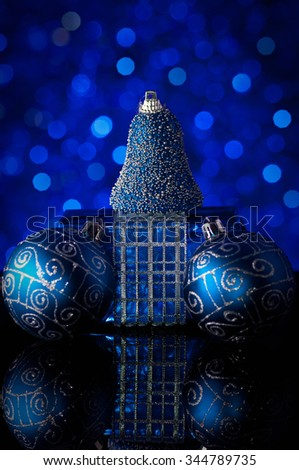 christmas decorations in blue tones  - stock photo