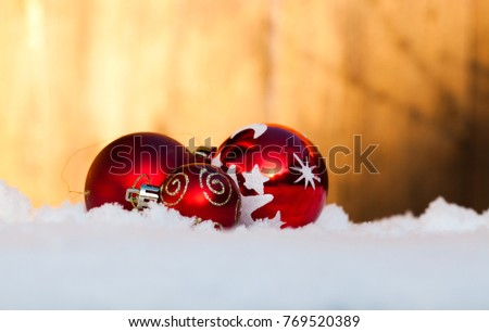 christmas decorations in fresh snow