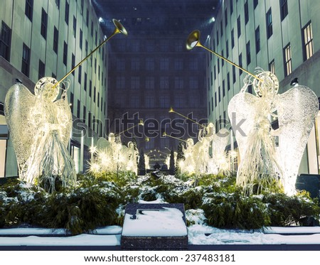 Christmas decorations in NY - stock photo