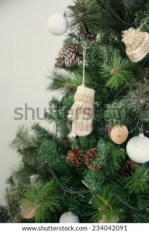 Christmas decorations in rustic style, close-up - stock photo