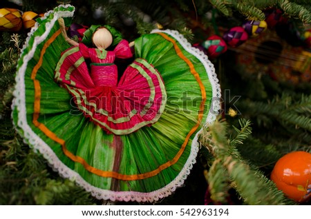 christmas decorations in shape of a dancer in green skirt in spanish old town san