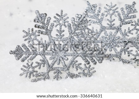 Christmas decorations in silver tones - stock photo