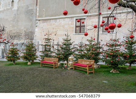 Christmas decorations in the garden.  romantic atmosphere