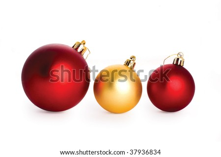 christmas decorations isolated on the white background