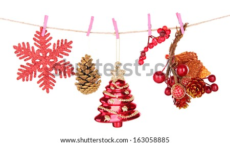 Christmas decorations isolated on white - stock photo
