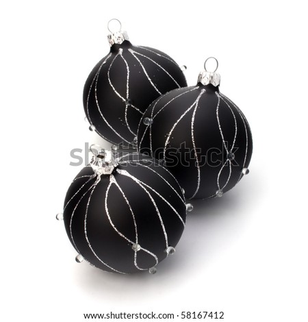 Christmas decorations isolated on white background close up - stock photo