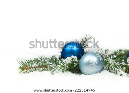 Christmas Decorations Isolated on White Background. Selective focus. - stock photo