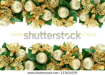 Christmas decorations isolated on white. Copy space for your text - stock photo