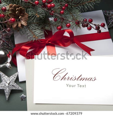 Christmas decorations (live tree, balls, star) - stock photo