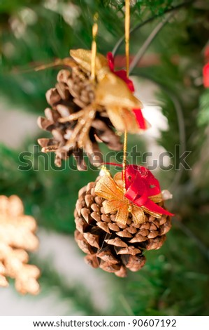 Christmas decorations made of cones - stock photo