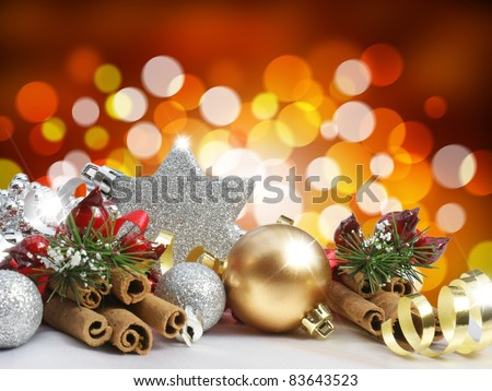 Christmas decorations on a blurred lights background - stock photo