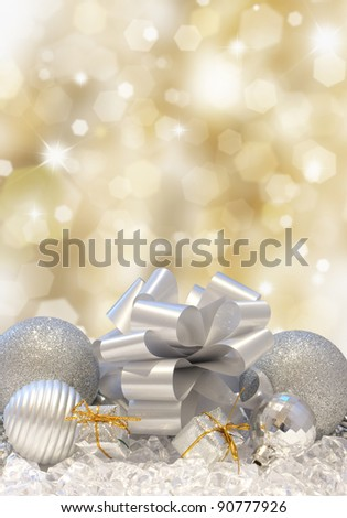 Christmas decorations on a golden background of blurred lights
