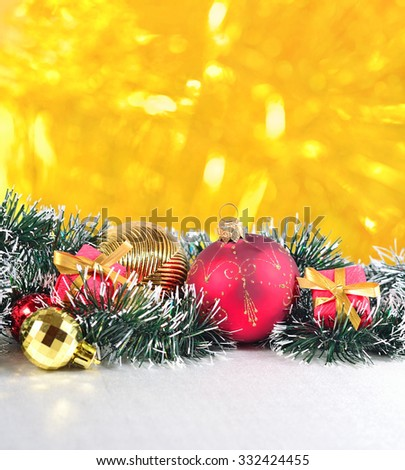 Christmas decorations on a golden bokeh background