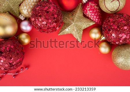 Christmas decorations on a red background Accessories - stock photo