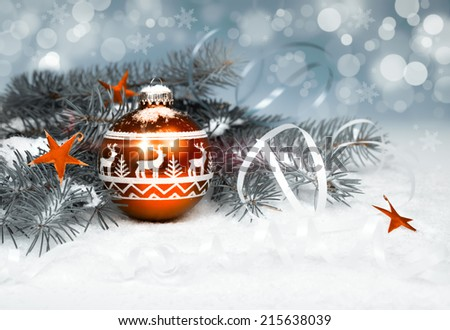 Christmas decorations on abstract winter background - stock photo