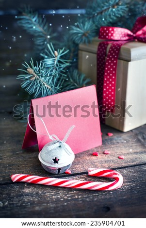 Christmas decorations on dark rusty wooden background - stock photo