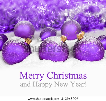 Christmas decorations on defocused lights background. Merry Christmas Card - stock photo