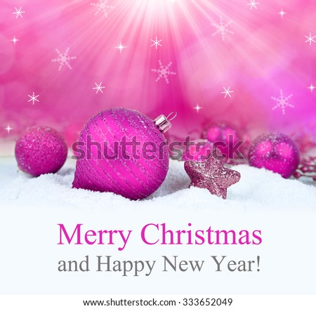 Christmas decorations on defocused lights background. Merry Christmas Card. - stock photo