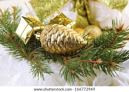Christmas decorations on fir tree close up - stock photo