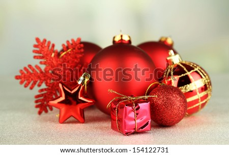 Christmas decorations on grey background - stock photo