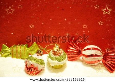 Christmas decorations on mulberry paper texture for background