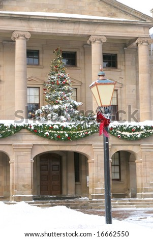 Christmas decorations on Province House in Charlottetown, Prince Edward Island, Canada.
