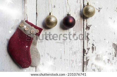 Christmas decorations on rustic wooden background  - stock photo