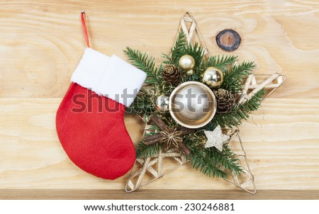 Christmas decorations on rustic wooden background - vintage photo - stock photo