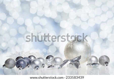 Christmas decorations on sparkling background - copy space  - stock photo