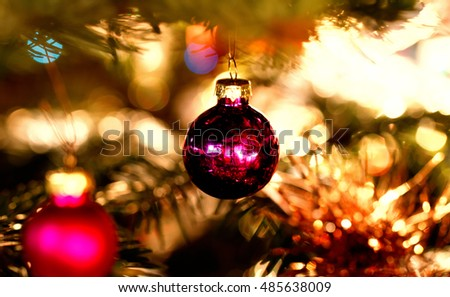 Christmas decorations on the branches fir - closeup photo