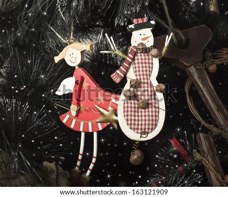Christmas decorations on the Christmas tree - stock photo