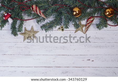 Christmas decorations on the wood background - stock photo