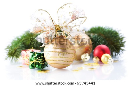 Christmas decorations on white background - stock photo