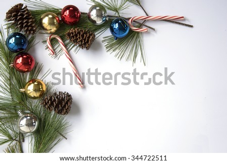 Christmas decorations on white for background with copy space