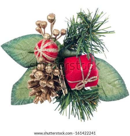 Christmas decorations on white reflective background. - stock photo