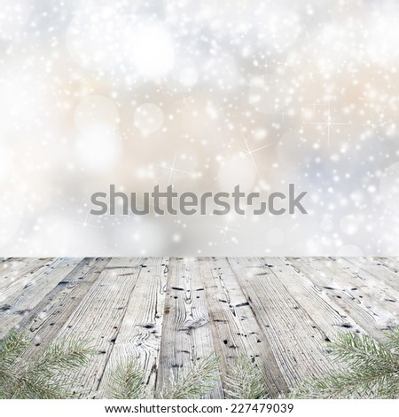 Christmas decorations on wooden background. - stock photo