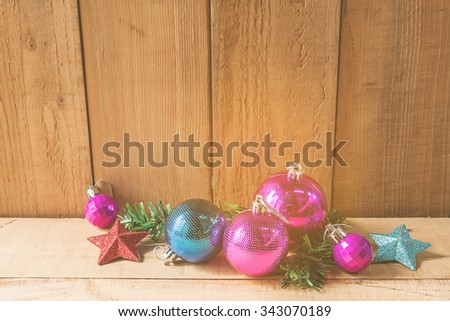 Christmas decorations on wooden floor , abstract background to time for count down to Christmas and new year Holidays. - stock photo