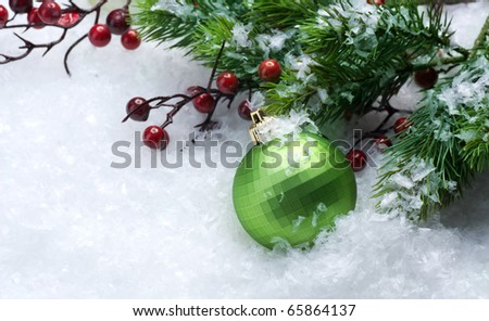 Christmas Decorations over Snow background - stock photo