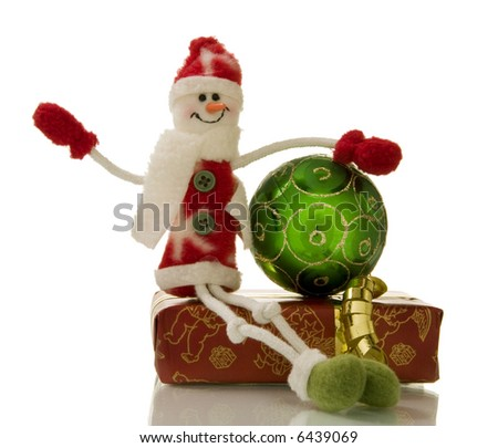 Christmas decorations over white background