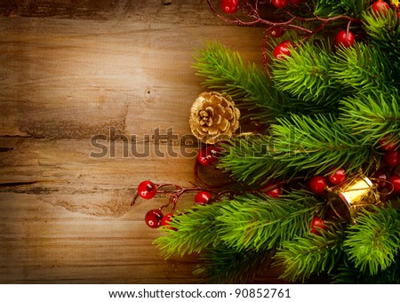 Christmas decorations over wood background
