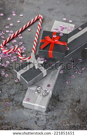 Christmas decorations - pesents and candy canes - stock photo
