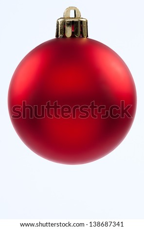 Christmas Decorations, red balls on white backgrounds - stock photo